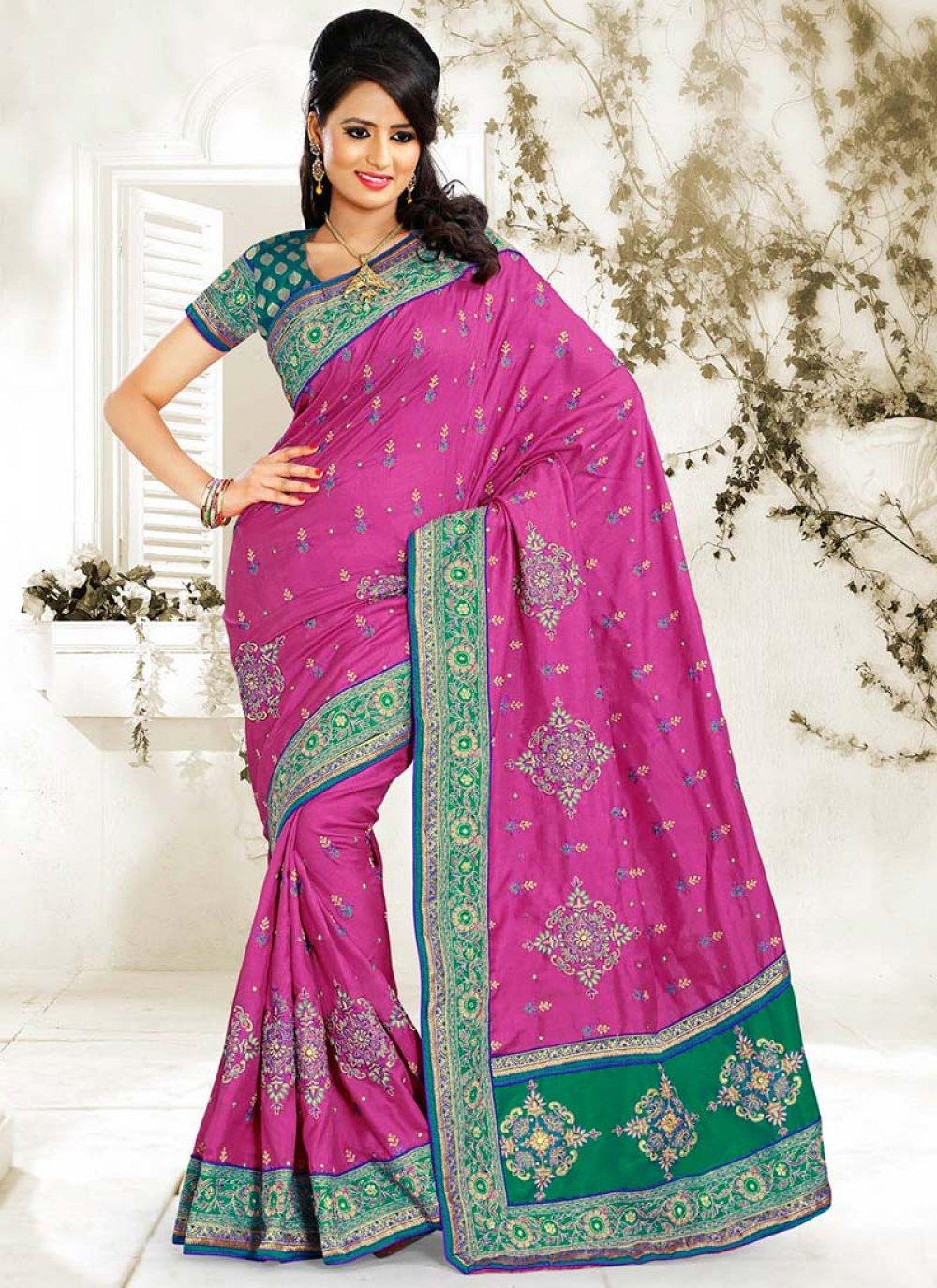 Pink Manipuri Silk Designer Saree
