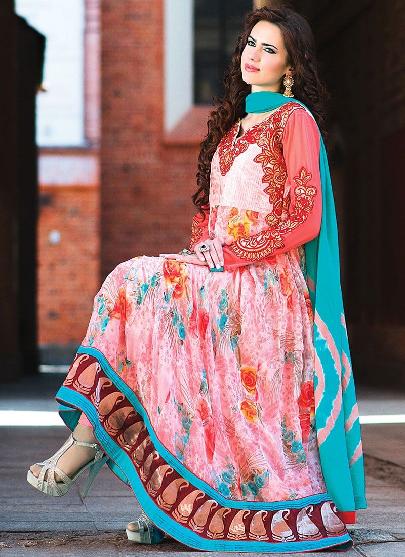 Pink Patch Border Work Faux Georgette Anarkali Suit