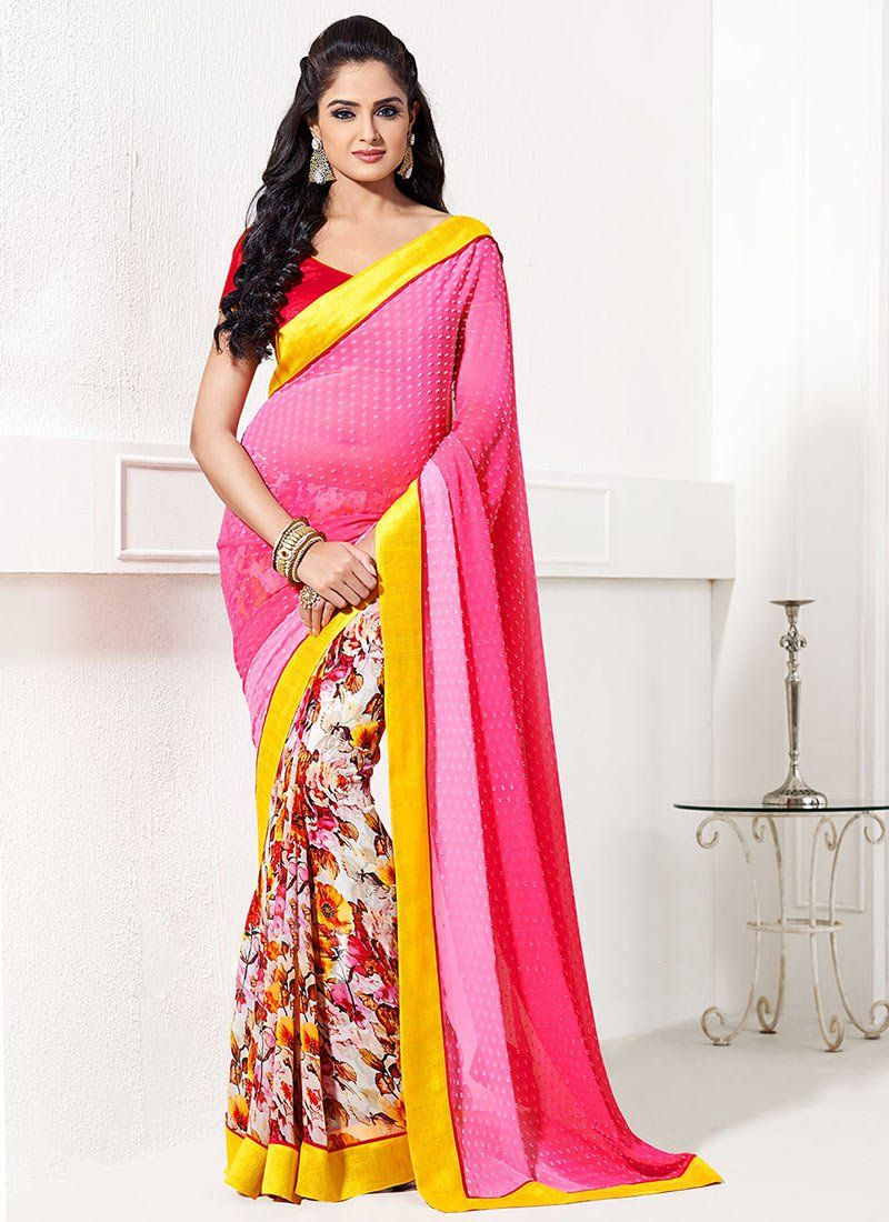 Pink Printed Half And Half Saree