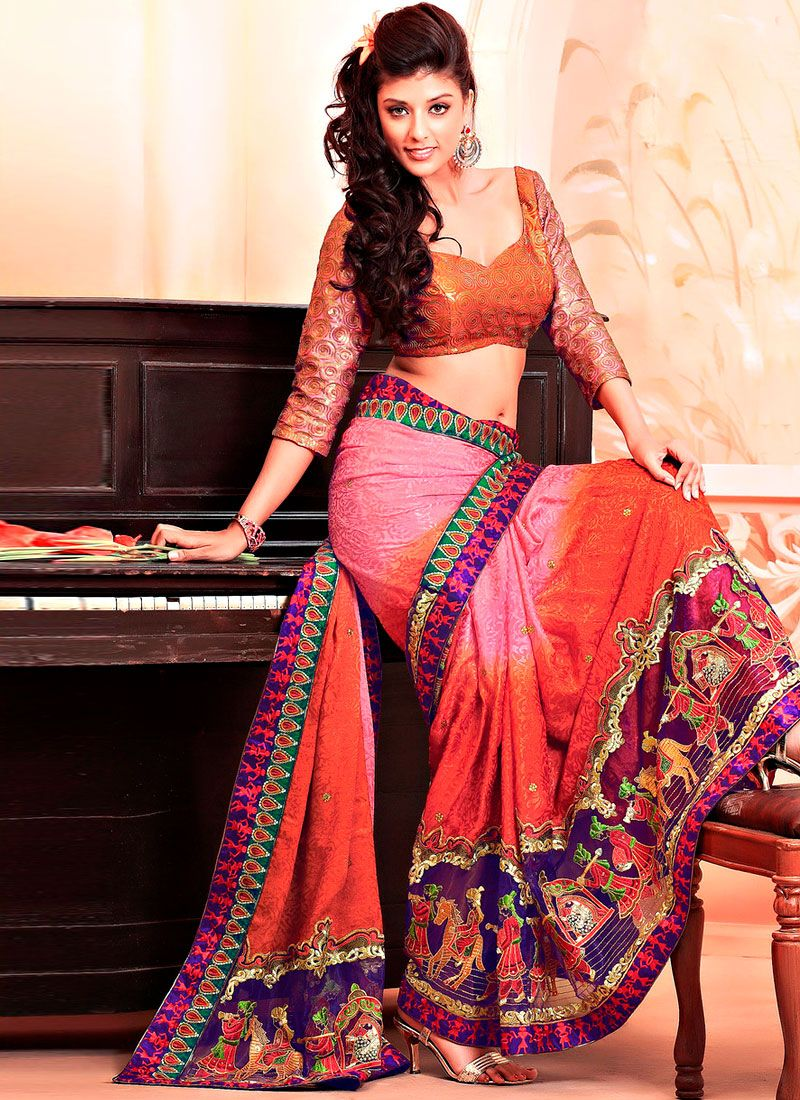 Pink, Red Jacquard and Net Saree