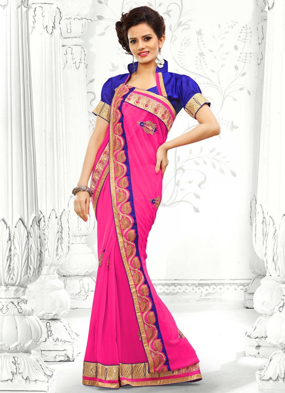 Pink Resham Georgette Saree
