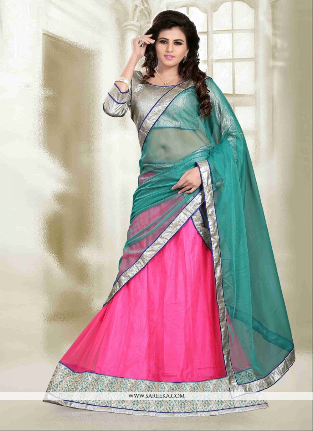 Pink Resham Work A Line Lehenga Choli