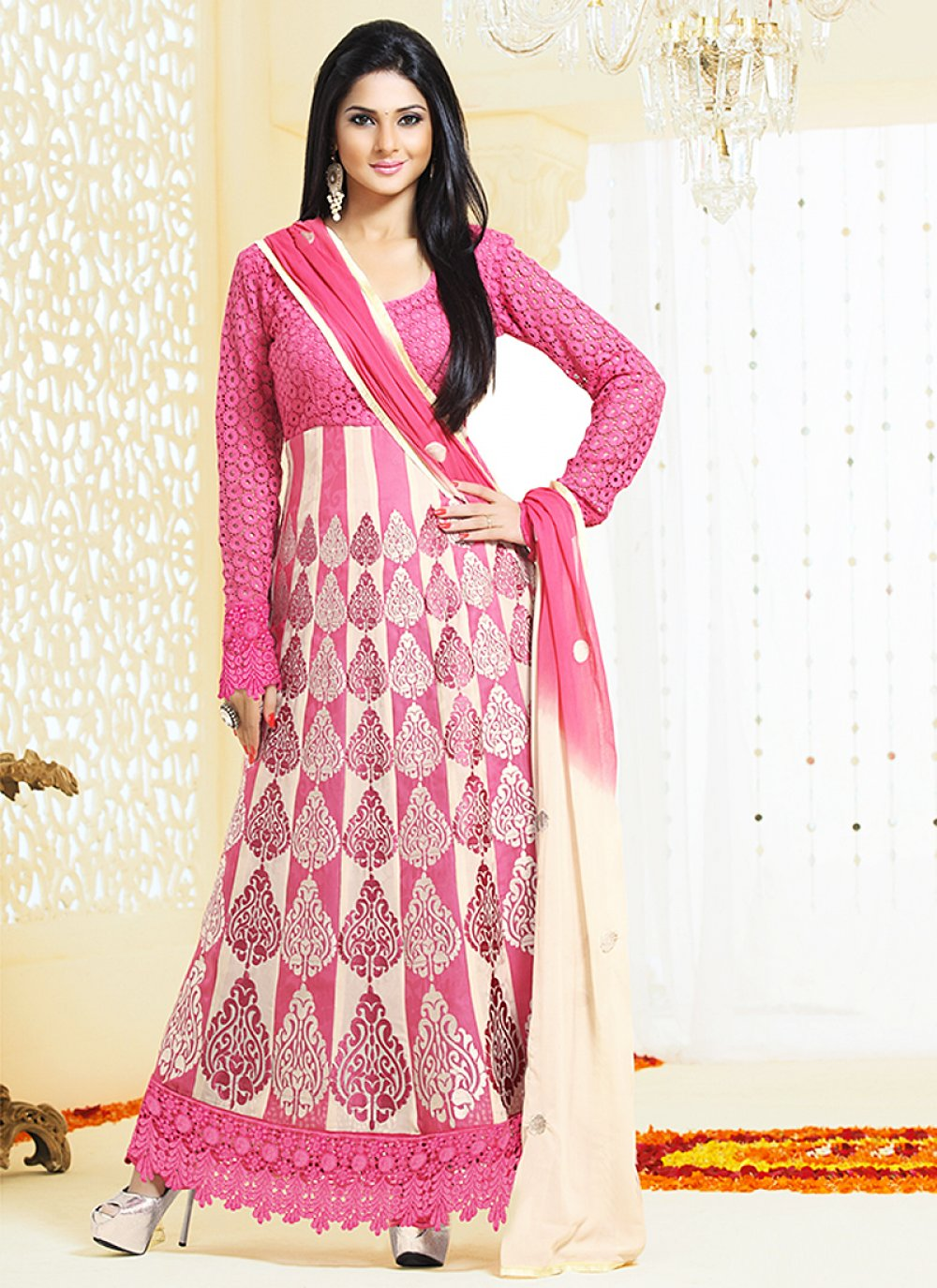 Pink Resham Work Georgette Anarkali Suit