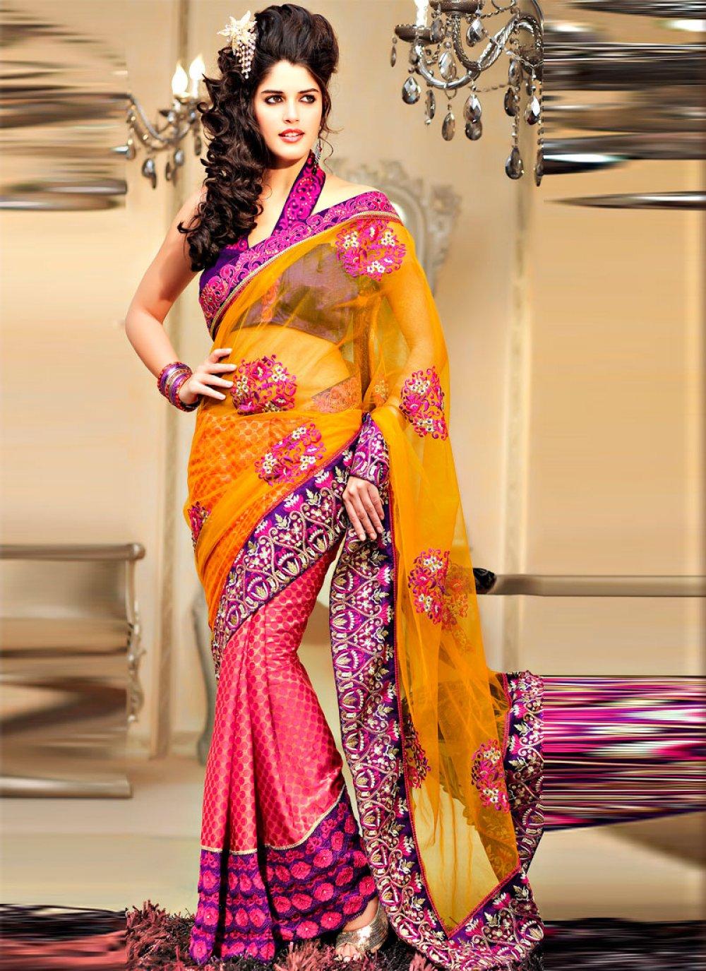 Pink Yellow Brasso Net Lehanga Saree
