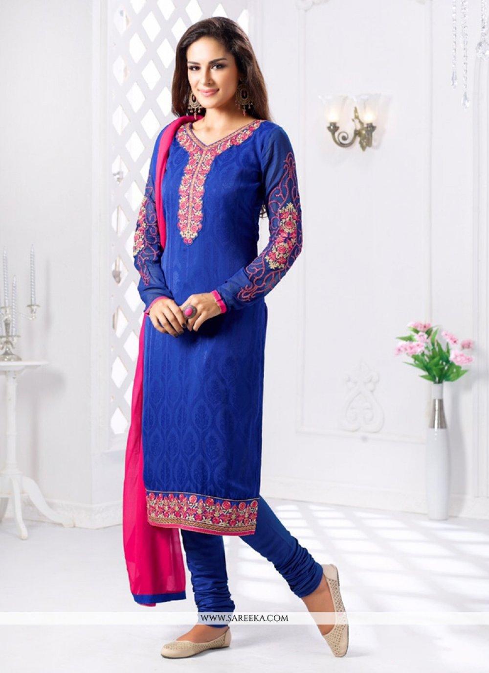 Blue Jacquard Churidar Salwar Kameez