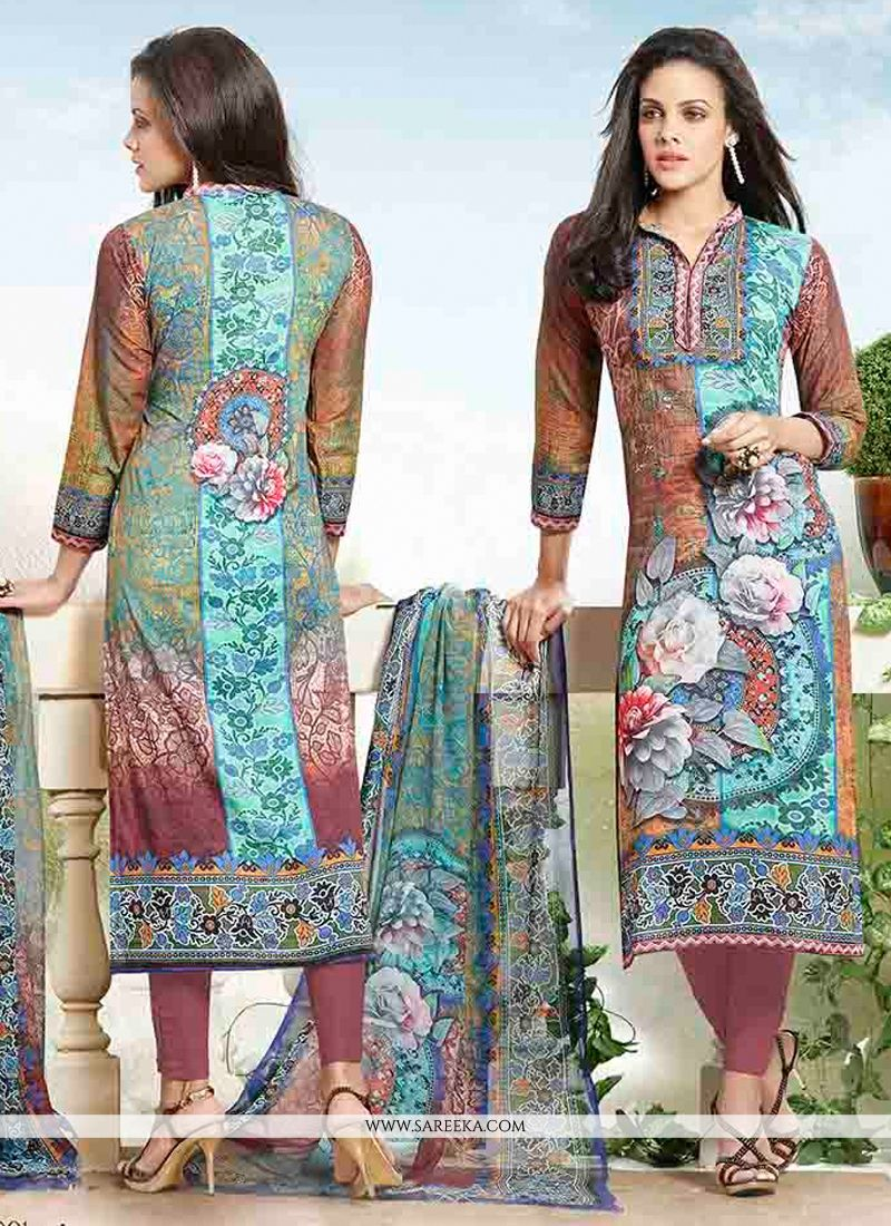 Cotton   Print Work Churidar Designer Suit
