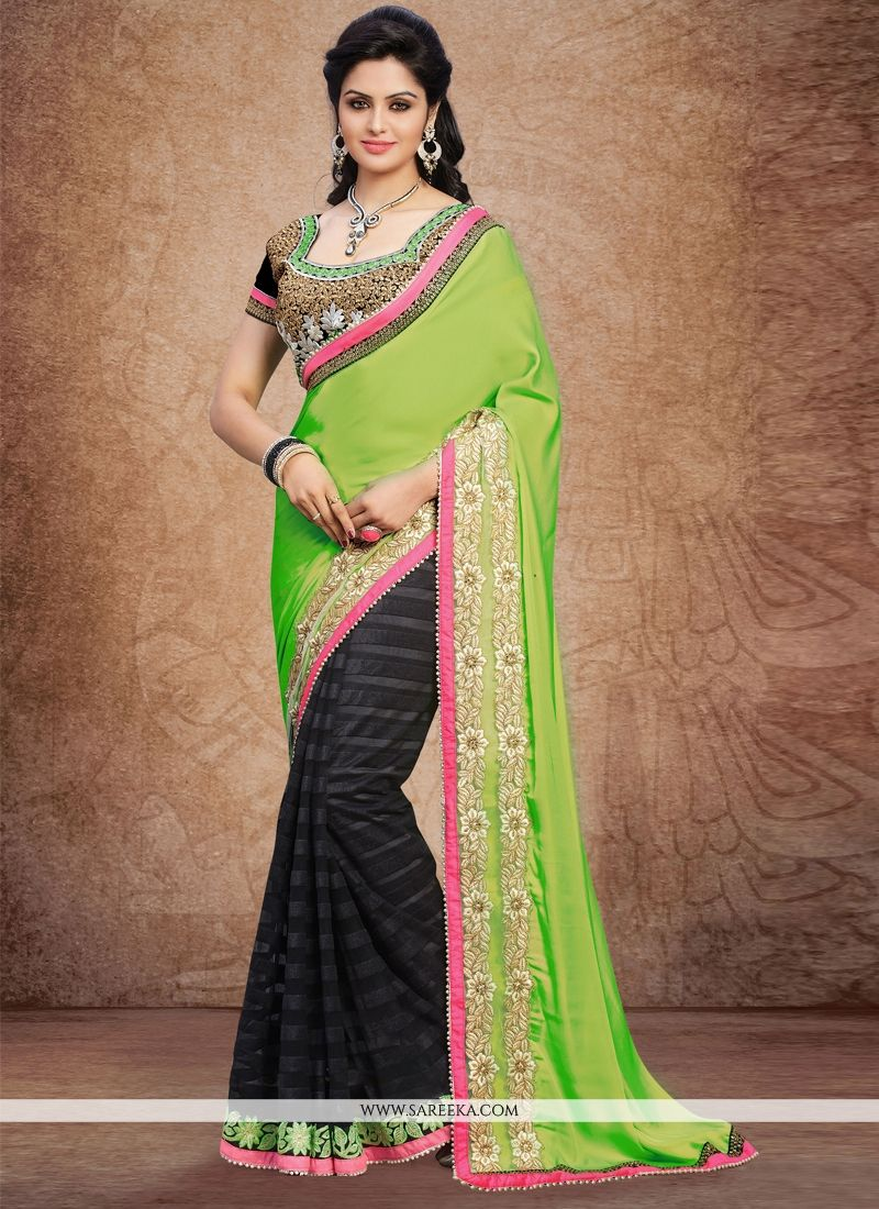 Embroidered Work Green and Black Faux Crepe Designer Saree