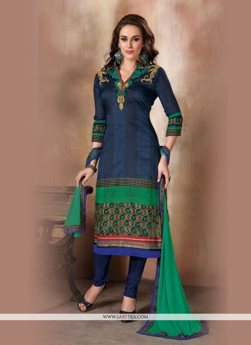 Navy Blue Embroidered Work Raw Silk Churidar Designer Suit