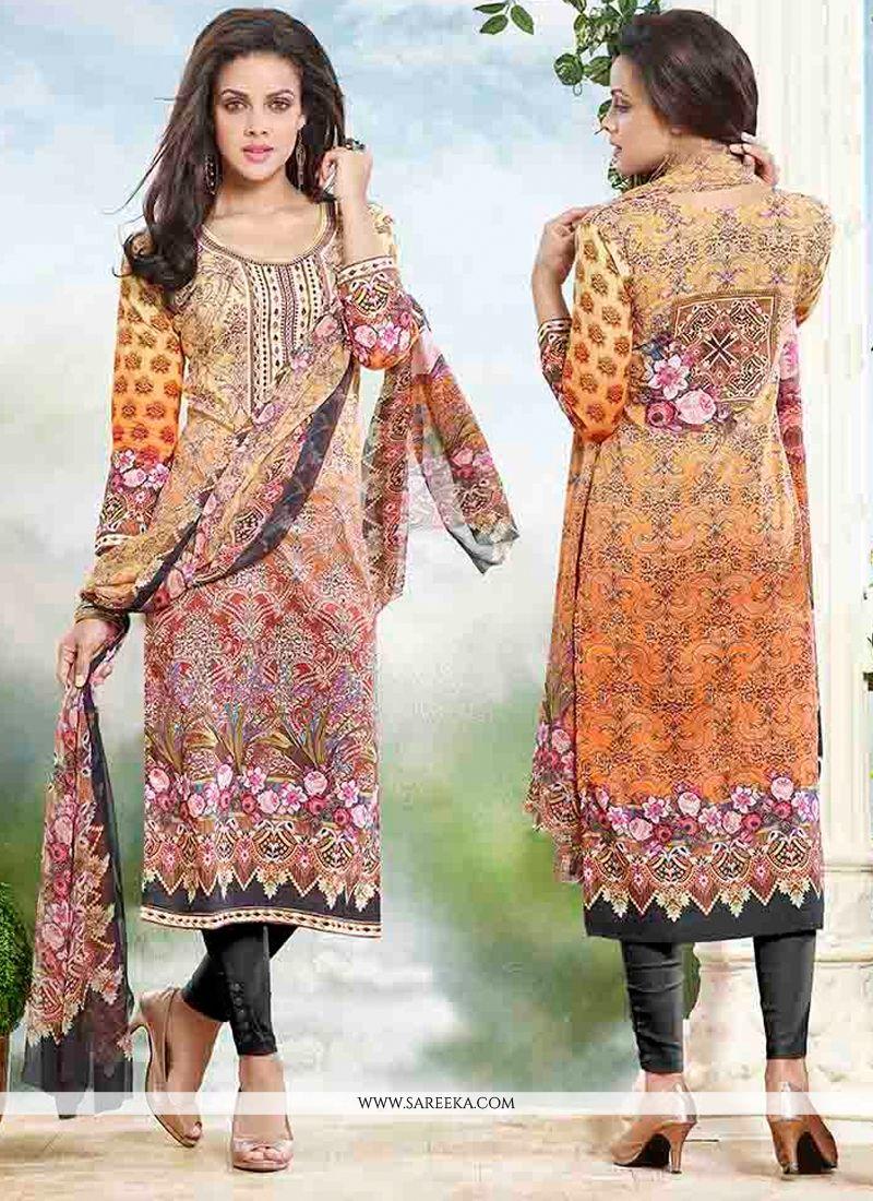 Print Work Churidar Designer Suit