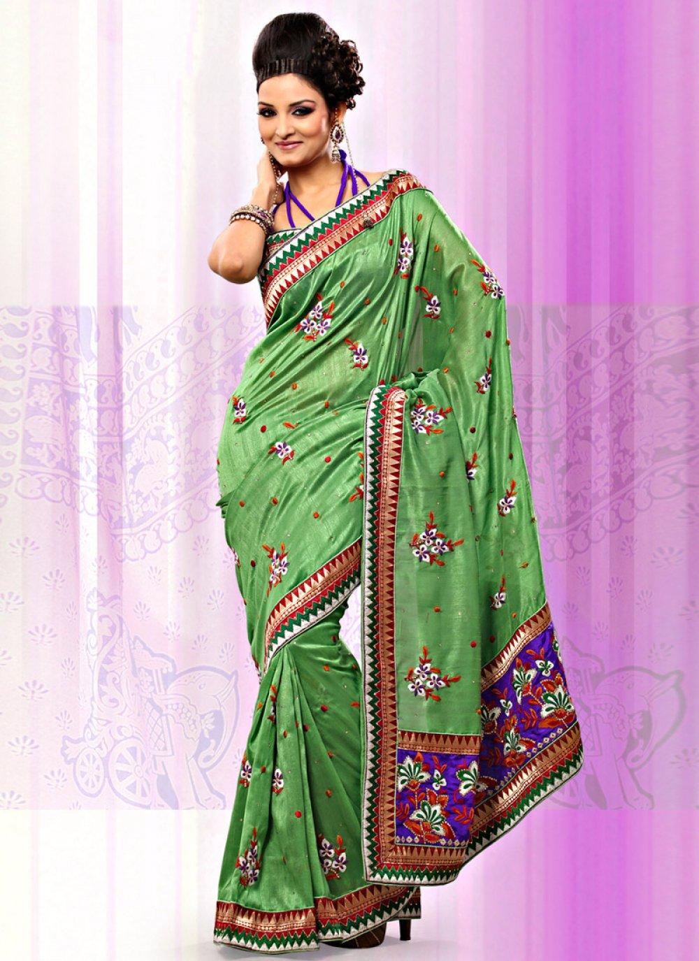 Pista Green Art Bhagalpuri Silk Saree