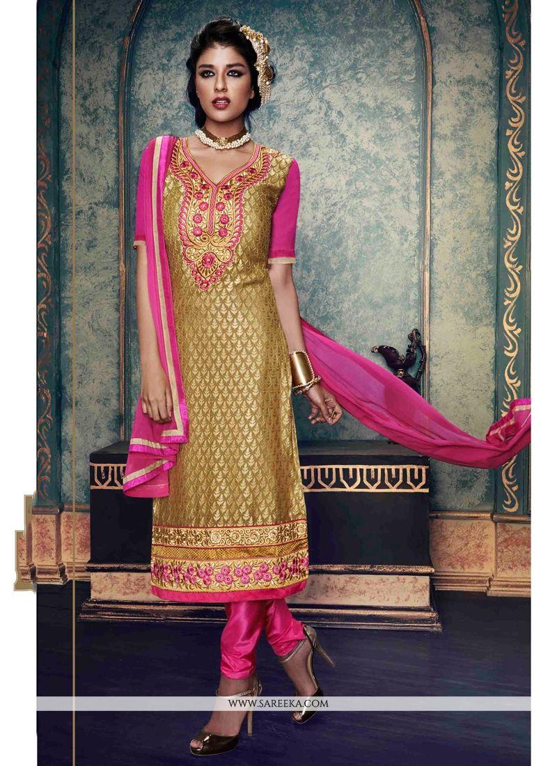 Beige Embroidered Work Brasso Churidar Salwar Suit