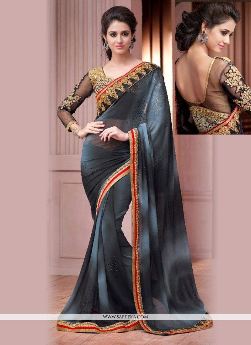 Georgette Black Embroidered Work Designer Saree