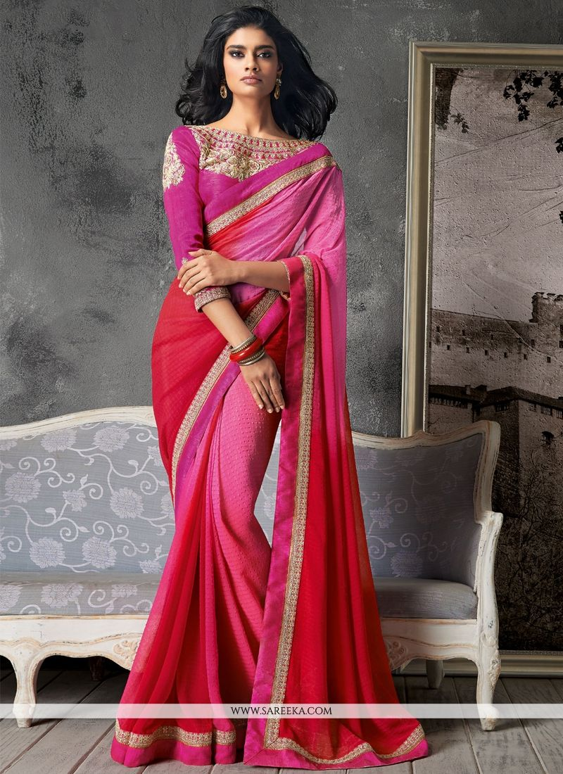 Georgette Hot Pink Contemporary Style Saree