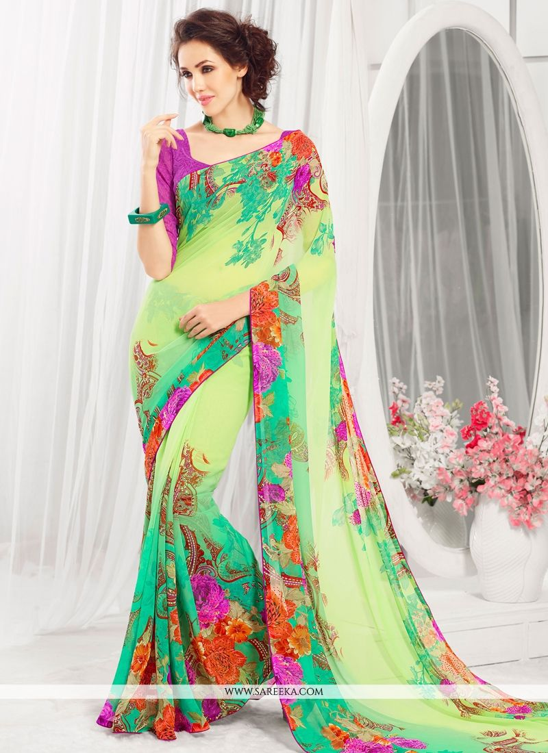 Green Print Work Casual Saree