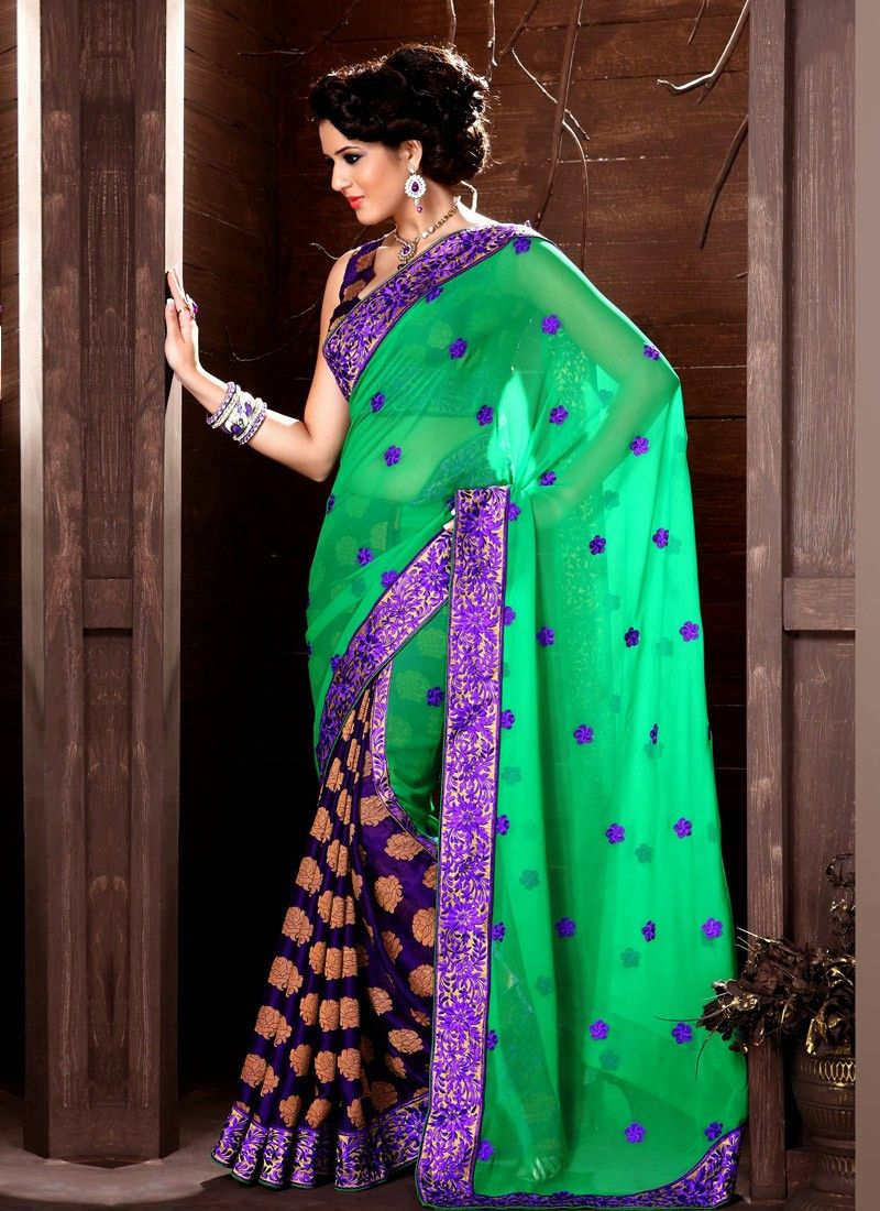 Pleasant Green Patch Border Work Half And Half Saree