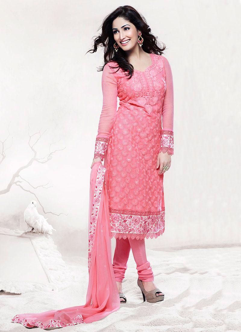 Pleasant Pink Faux Chiffon Churidar Suit