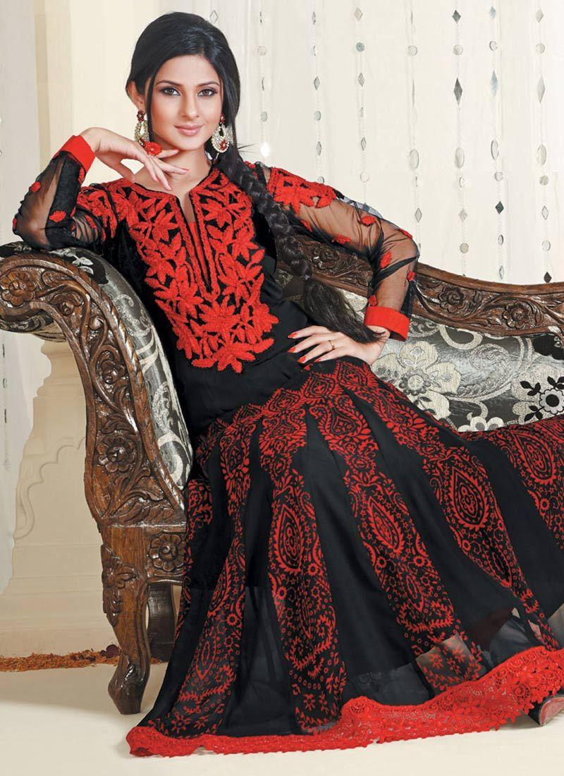Black And Red Resham Work Anarkali Suit