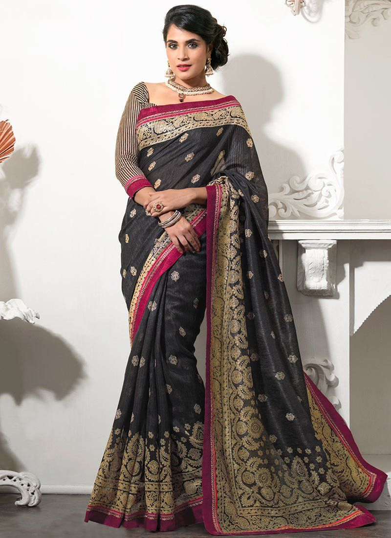 Black Resham Work Silk Saree
