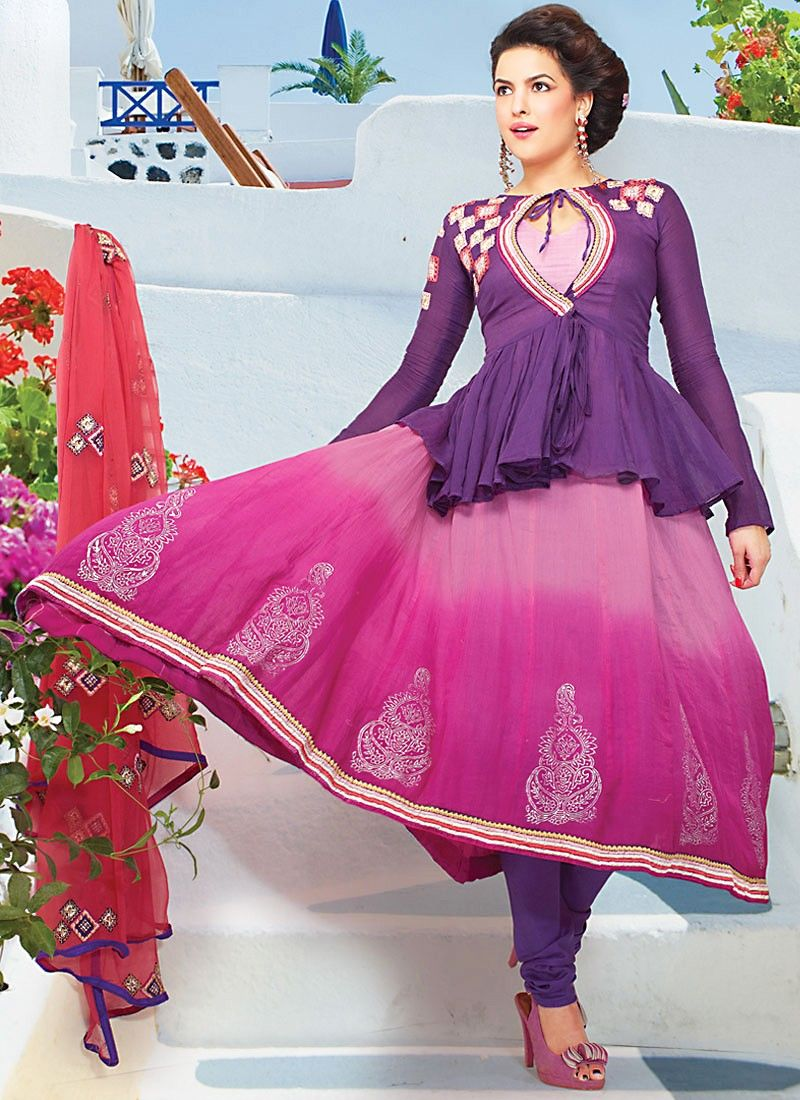 Faux Georgette Churidhar Suit