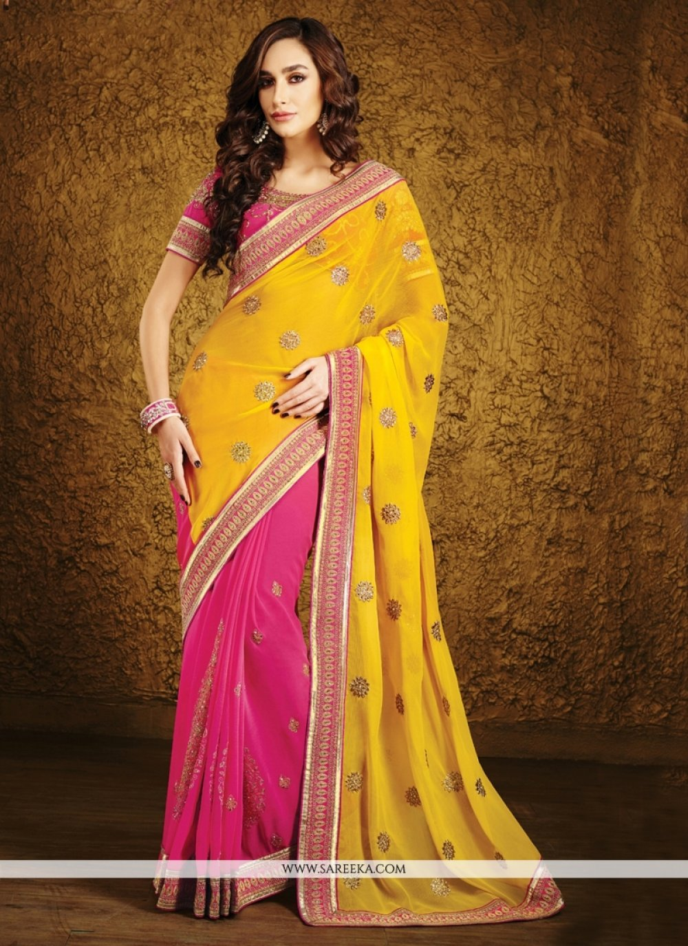 Georgette Hot Pink and Yellow Half N Half Designer Saree