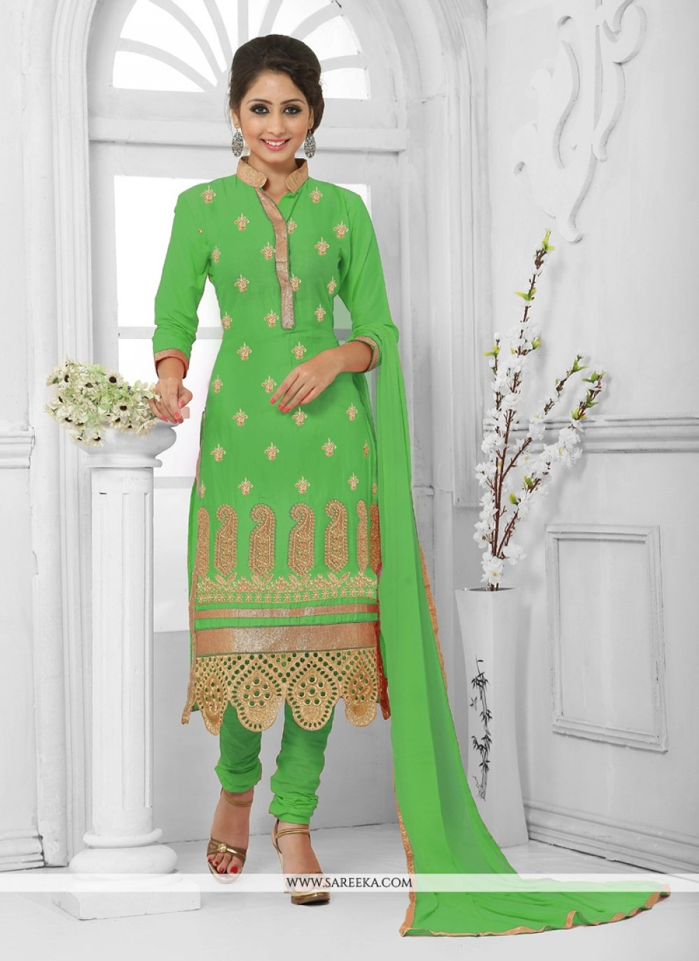 Green Embroidered Work Cotton   Churidar Salwar Kameez