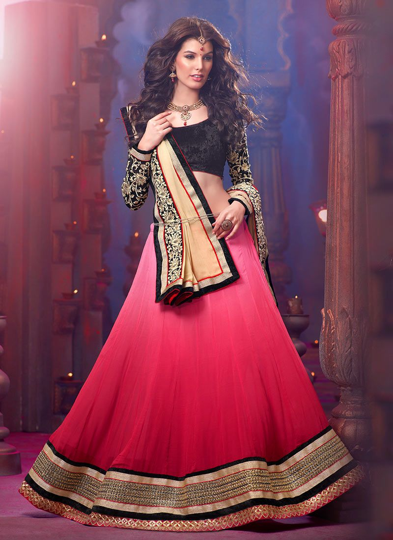 Hot Pink Georgette Lehenga Choli