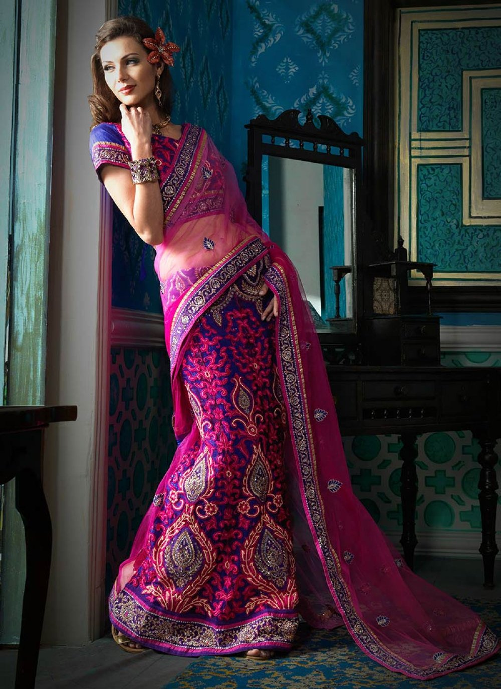 Pink And Blue Net Lehenga Saree