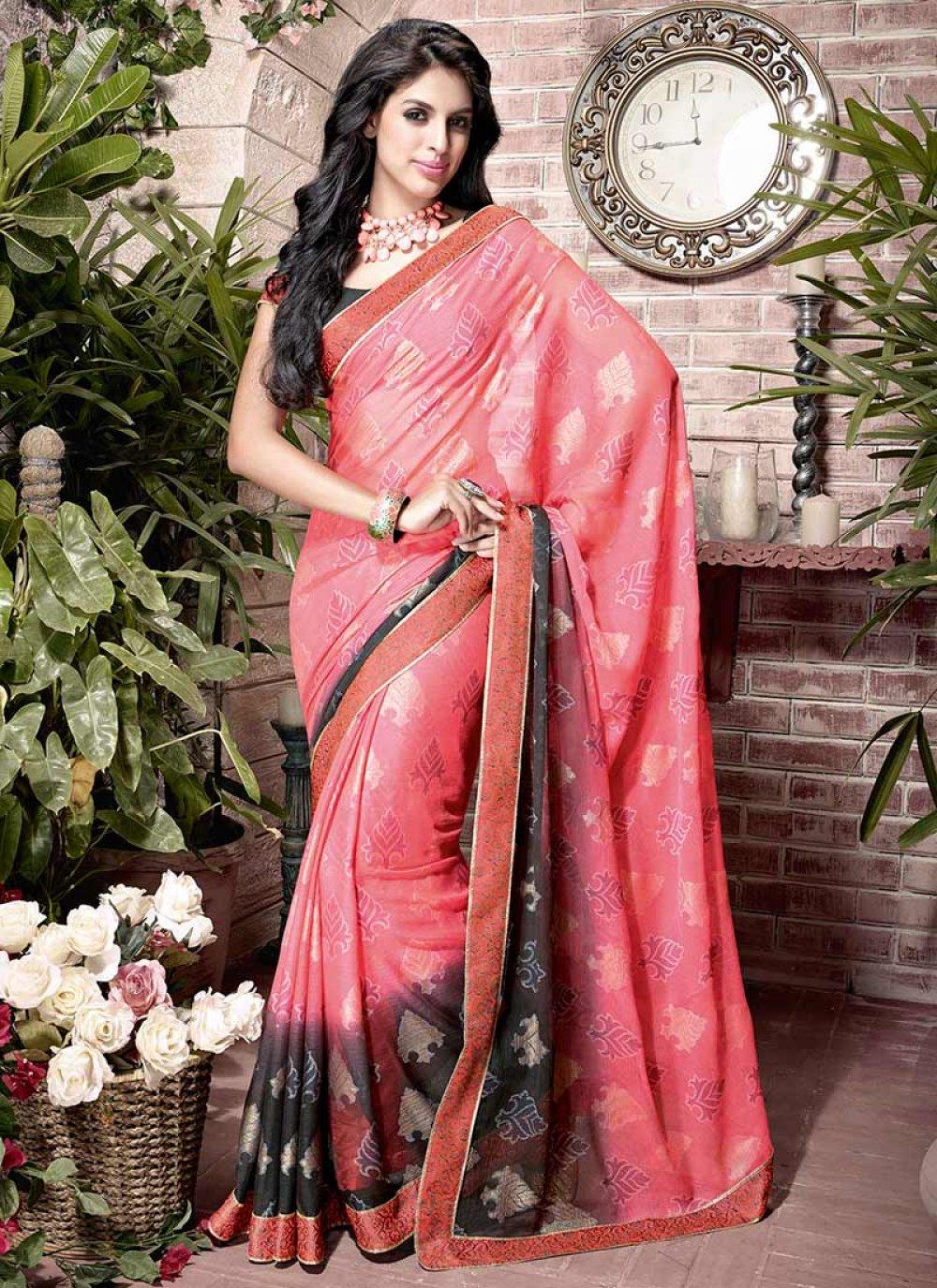 Pink Printed Chiffon Saree