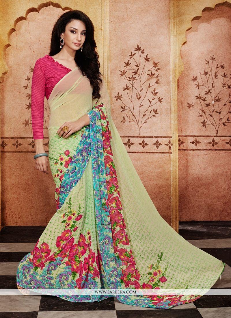 Print Work Green Casual Saree