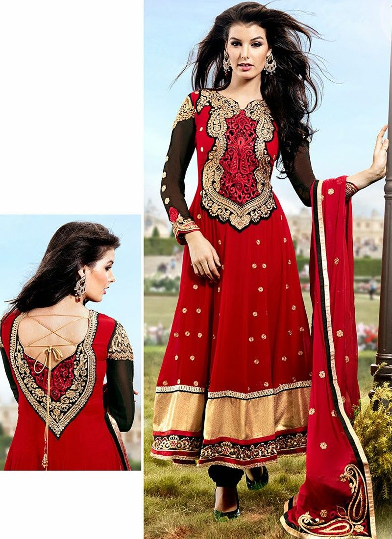 Red And Black Faux Georgette Anarkali Suit