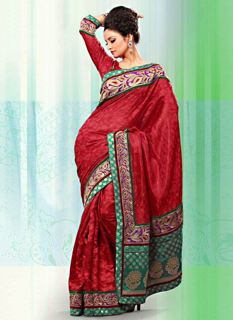 Red Art Bhagalpuri Jacquard Silk Saree