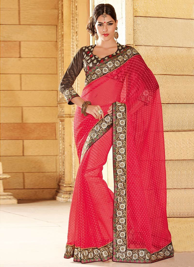 Red Net Jacquard Casual Saree
