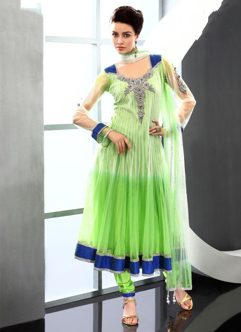 Shaded Green Net Anarkali Suit