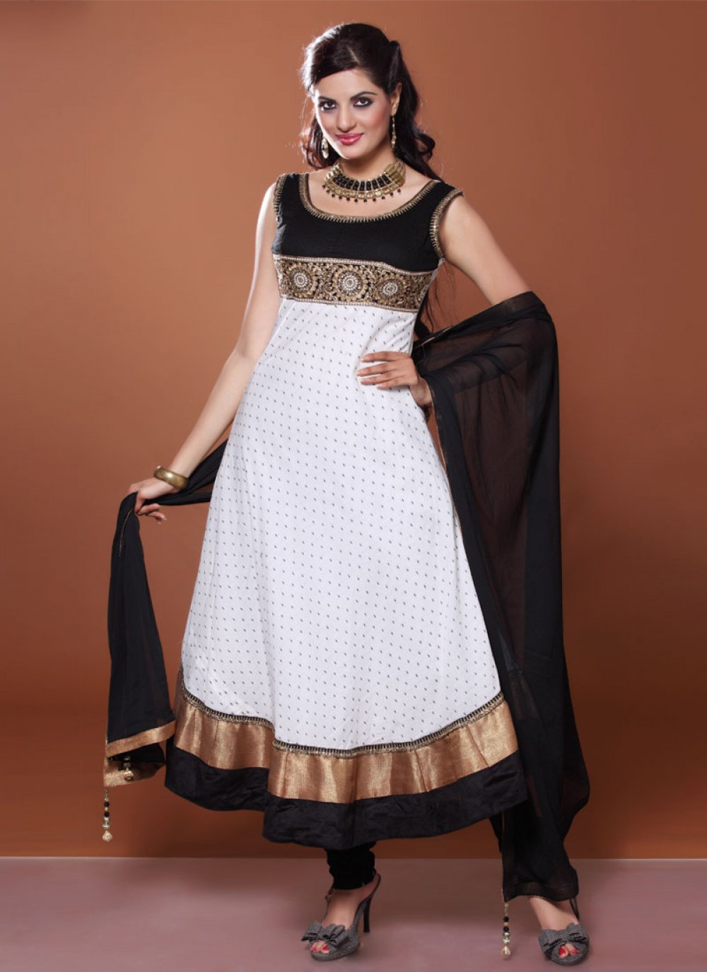 White And Black Resham Work Designer Anarkali Suit