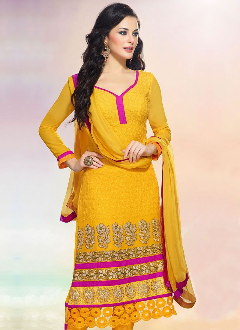 Yellow Faux Georgette Churidar Suit
