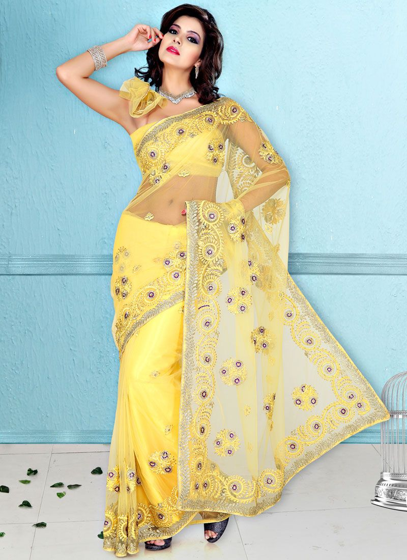 Yellow Net Embroidered Saree