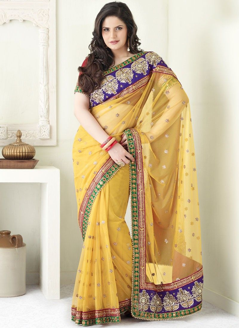Yellow Patch Border Net Saree