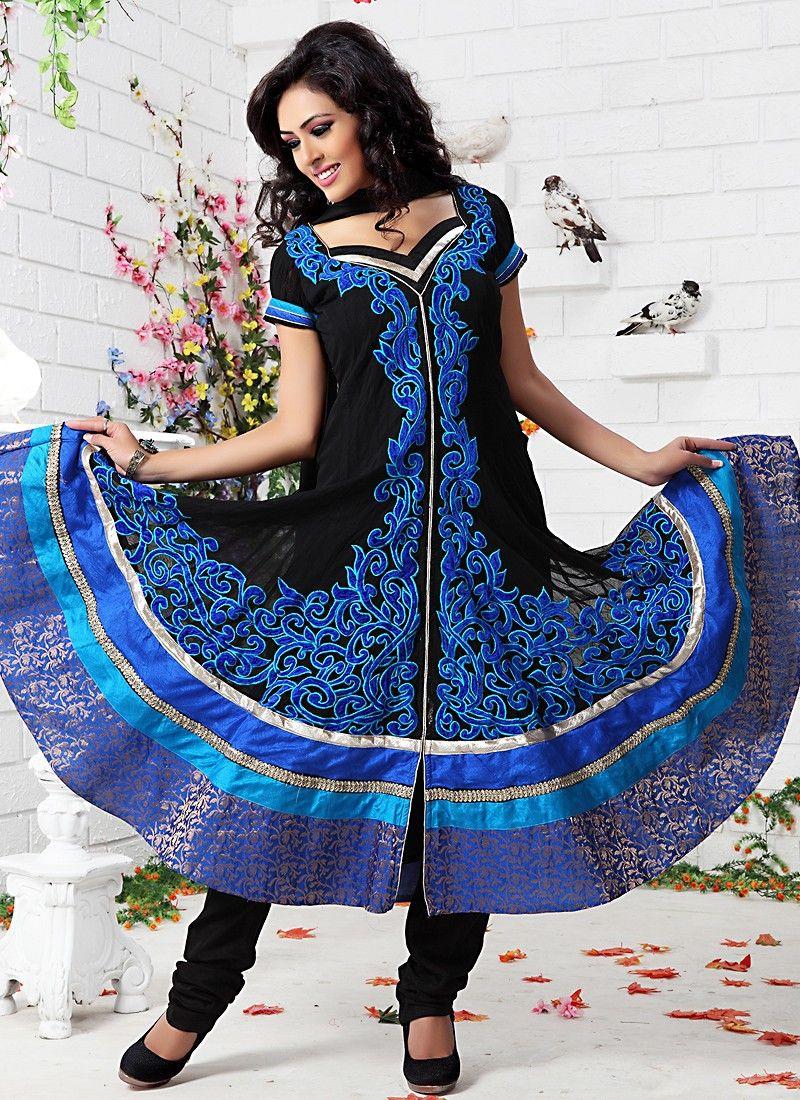 8419f6524a Plushy Azure Blue & Black Salwar Kameez -
