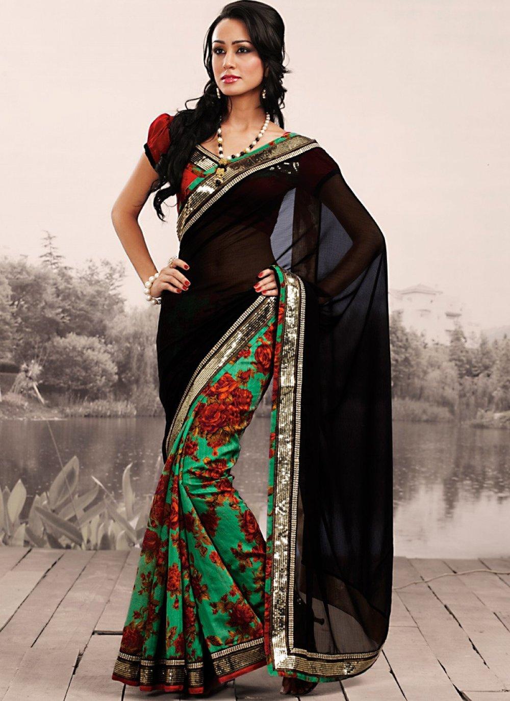 Plushy Black & Emerald Green Embroidered Saree