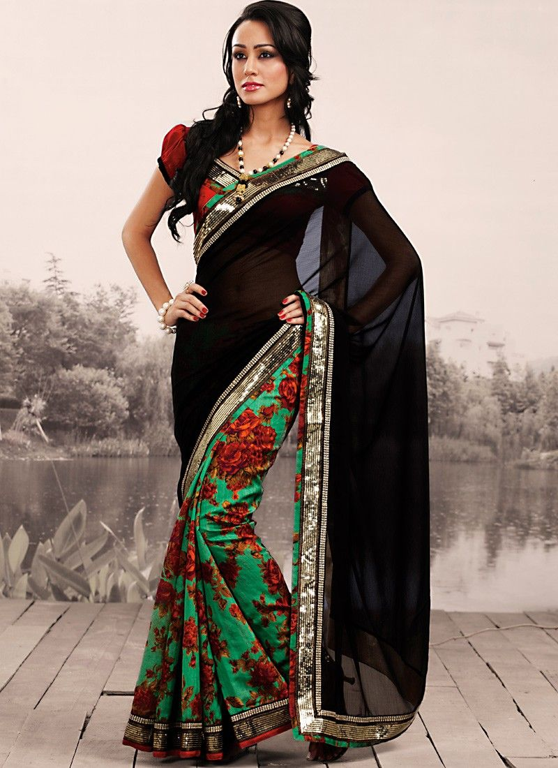 Plushy Black & Emerald Green Embroidered Saree