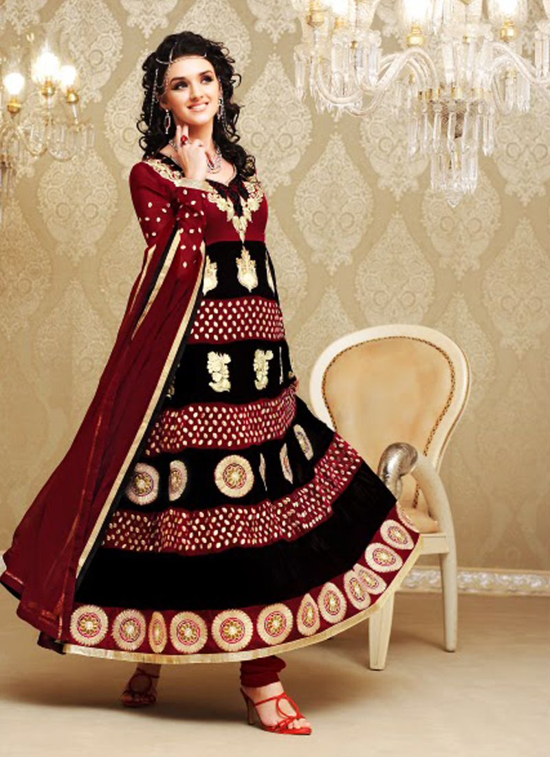 Plushy Black & Maroon Anarkali