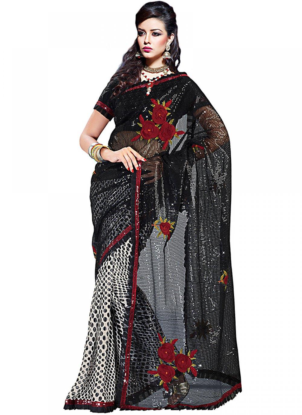 Plushy Black & Off White Embroidered Saree