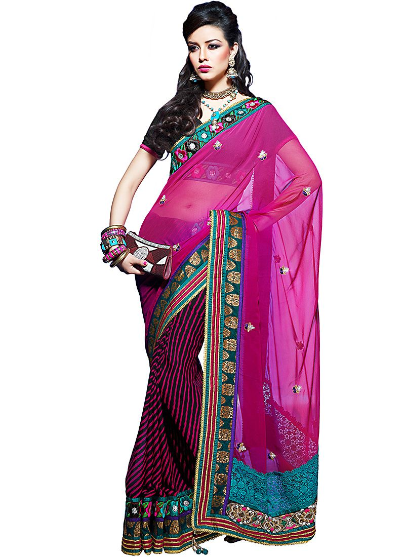Plushy Deep Pink Embroidered Saree
