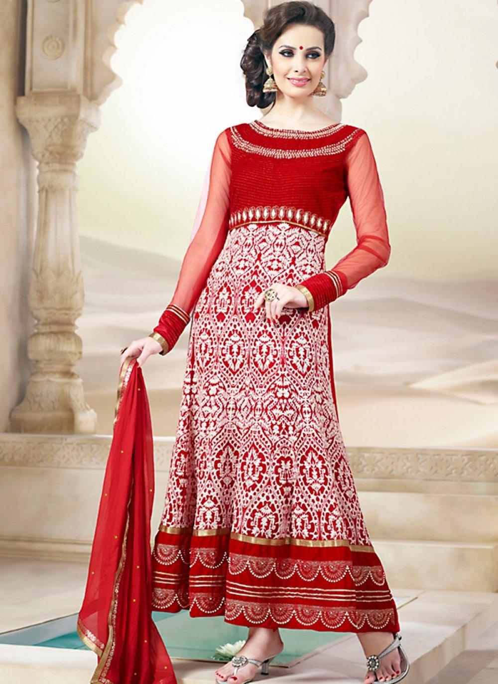 Plushy Deep White & Crimson Salwar Kameez