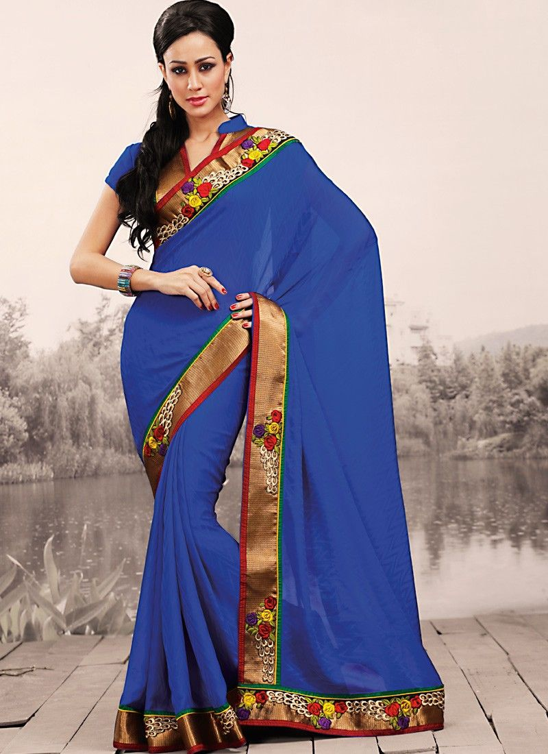 Plushy Dep Blue Embroidered Saree