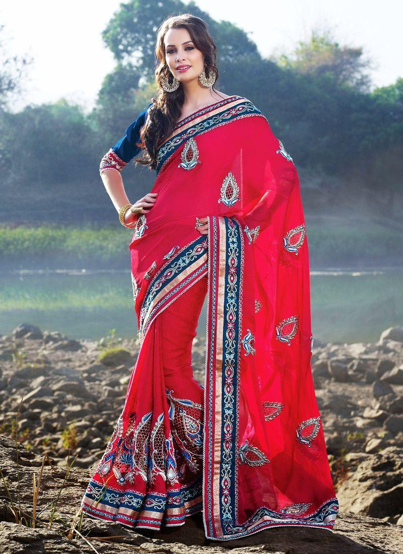 Plushy Fuchsia Embroidered Saree