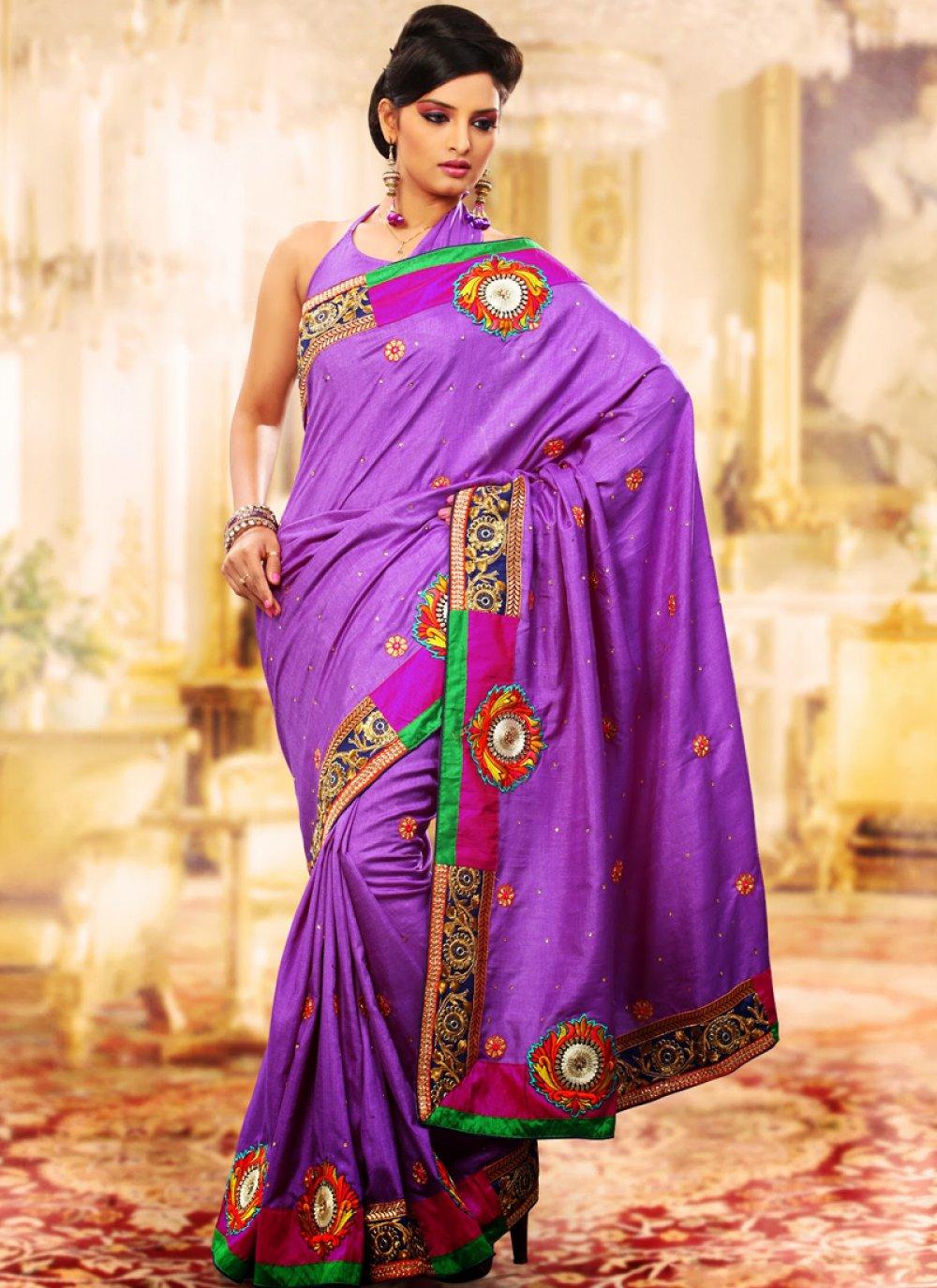 Plushy Lavender Embroidered Saree
