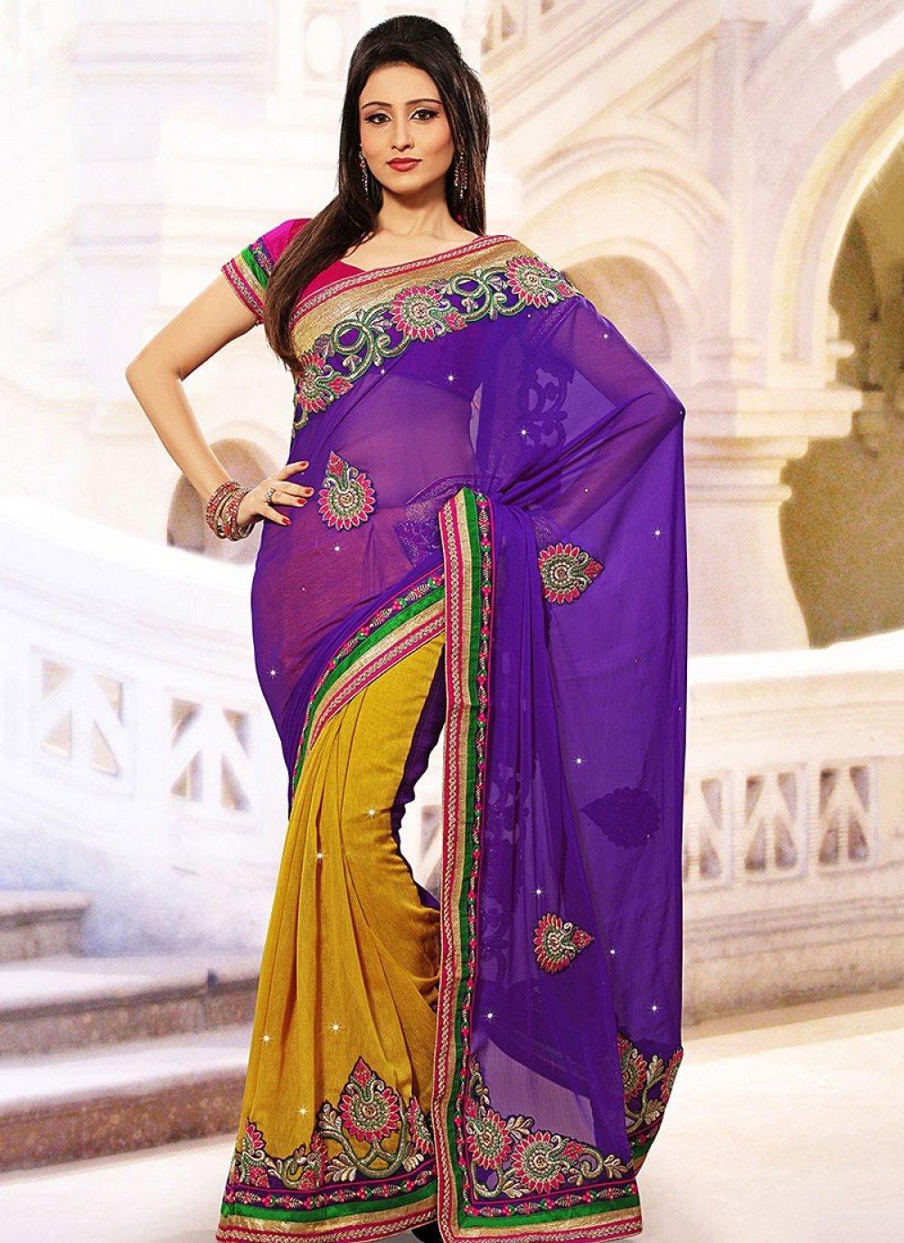 Poetic Purple Silk Half And Half Saree