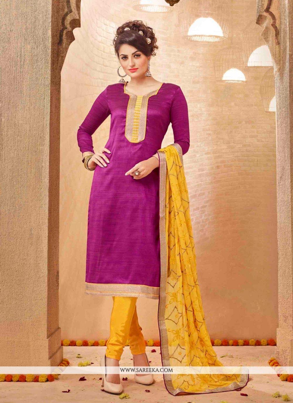 Banarasi Silk Churidar Salwar Suit