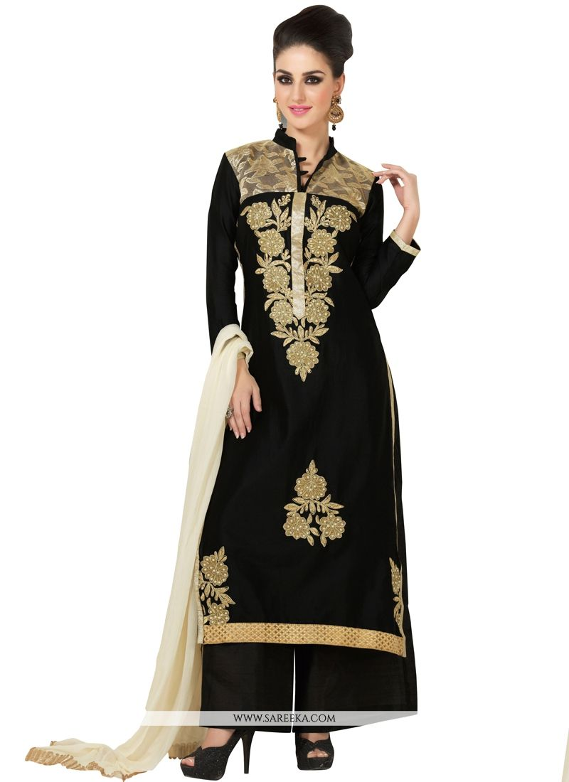 Cotton Satin Black Embroidered Work Designer Palazzo Salwar Kameez